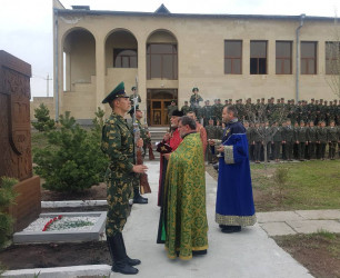 The ceremony of blessing the khachkar of Border Guard Troops